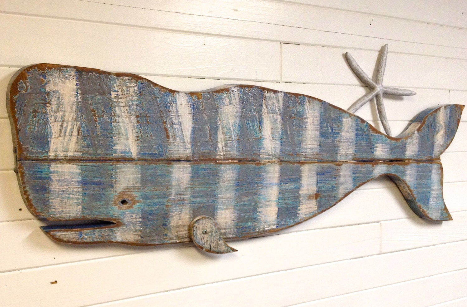 Whale Sign Art Striped Thick Vintage Wood Beach By