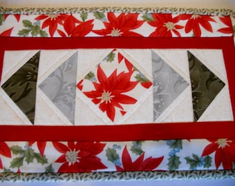 Christmas Quilted Table Topper, Mini Quilt, Christmas Candle Mat, Poinsettia Holly Berries, Christmas Quilted Toilet Tank Topper