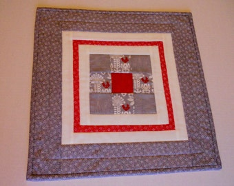 Modern Quilted Table Topper, Table Runner, Contemporary Runner, Winter, Grey and White, Red Birds