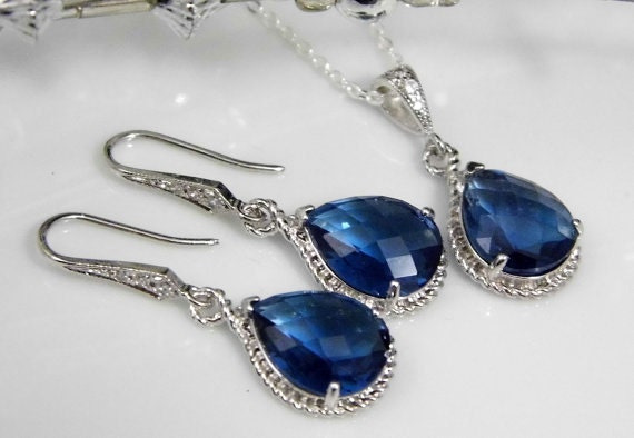 Sapphire Bridesmaid Jewelry | Blue Bridesmaid Jewelry | Blue Wedding Jewelry | Sapphire Necklace | Sapphire Earrings | Blue Necklace | Gifts