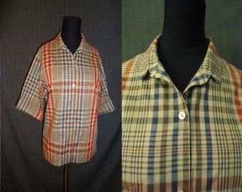 Tan Plaid Rockabilly Vintage 1950's Womens Shirt Blouse M L