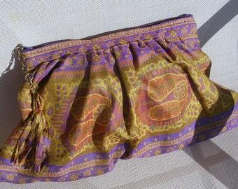 Clutch, Anichini fabric, Rust, Orange, Gold, Purple