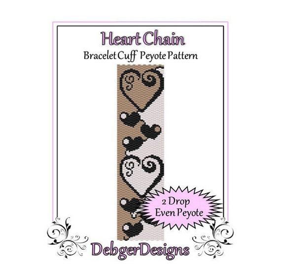 Bead Pattern Peyote(Bracelet Cuff)-Heart Chain