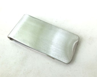 Money Clip  in Nickel  Silver ---Smooth Finish with brushed Texture