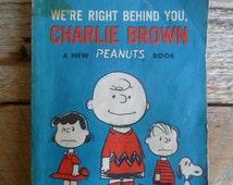 """Charlie Brown Book """"We're Right Behind You, Charlie Brown Vintage"""