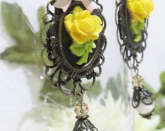 Antique Brass Layered Filigree Rose Portrait & Pearl Dangles