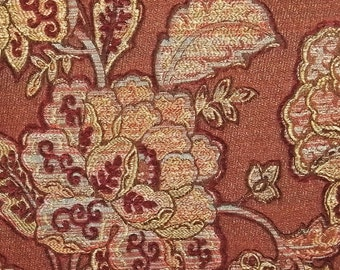 Upholstery Fabric Red Large Bloom Floral Design Woven Cloth Poly Cotton Heavy Weight Yardage