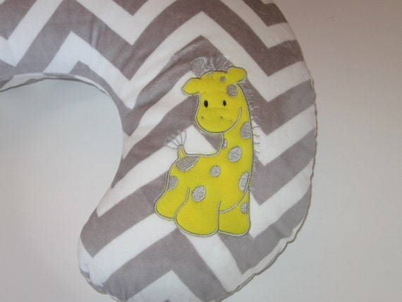 Animal Nursing Pillow : Boppy Slipcover, Boppy Cover, Giraffe, Zoo Animal, Safari, Chevron Minky, Baby Gift, New Mom ...