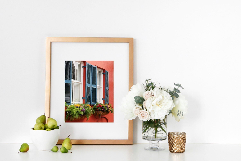 Charleston Photography Coral Teal Wall Art Window Box