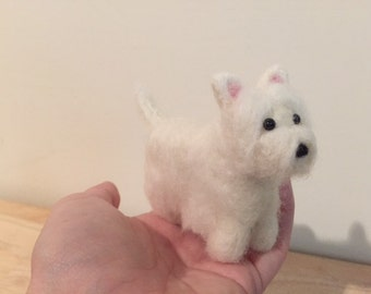 Felted Westie - West Highland Terrier - Needle Felted Dog
