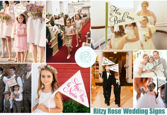 """Custom Wedding Sign - Your Choice of Words & Color - Pennant Flag Small 8"""" x 11""""   Paper And Wood Script Font Flower Girl Ring Bearer Flag"""