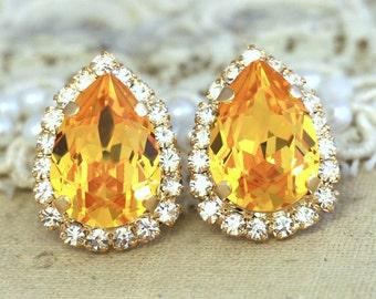 Yellow Earrings,Swarovski Stud Earrings,Bridal Yellow Earrings,Teardrop Swarovski Earrings,Bridesmaids Earrings,Canary Earrings