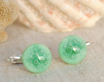 Clip-On Studs, Fused Glass Jewelry, Fused Glass Earrings, Green Earrings, Pastel, Spring Colors, Bubbles, Round Earrings (Item #30666-E)