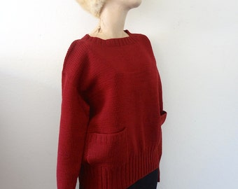 1940s Wool Sweater - merlot knit crew neck with pockets - classic vintage fall & winter fashion