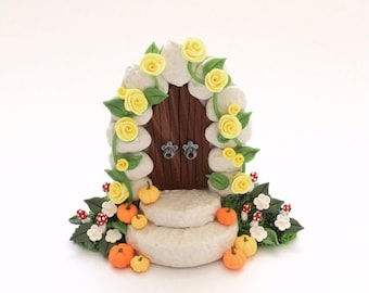 Autumn fairy door gate with miniature pumpkins handmade from polymer clay