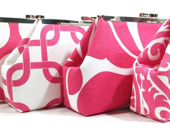 Pink Wedding Clutch, Bridesmaid Gifts, Personalized Clutches, Bridal Party Bags, Custom Personalized Purses