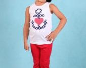 Summer Tank Top - Anchor Shirt- Beach Shirt- You Choose Shirt Color and Sleeve Length
