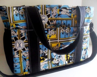 Extra Large Diaper Bag - DC Comics - Batman - Elastic Pockets - Diaper Bag - Messenger Bag - Tote Bag - Personalized