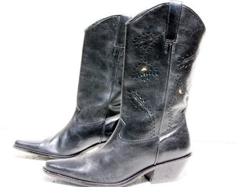 SALE - Vintage Leather Cowgirl Boots - Black with Flower Cut-Outs in Turquoise and Tan - Matisse - Size 8.5 M (USA) - Excellent Condition