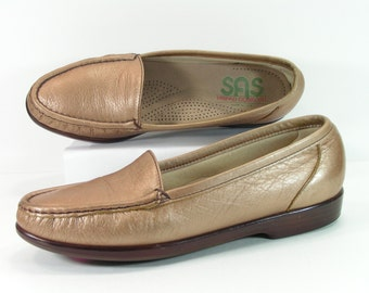 sas flats shoes womens 7.5 S slim bronze color loafers fashion vintage glossy