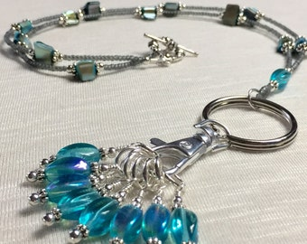 Turquoise Stitch Marker Necklace- Knitting Jewelry Lanyard- Snag Free Stitch Markers- Gift for Knitters