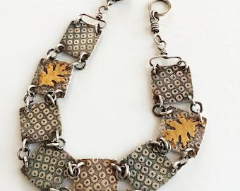 Fine Silver & Gold Leaf Autumn Bracelet