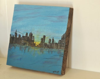 Urban Sunset Painting  Hand Painted on Salvaged Rustic Wood Block, City on the Water, Skyscrapers at Dusk, Reflections on the Bay