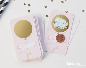 12 Scratch-off Cards // Baby Shower Game, Party Game, Baby Shower Activity, Scratch-off Game // Pink and Gold Balloon