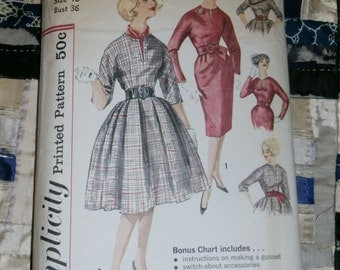"Vintage 1960s Simplicity Pattern 3548 Misses Dress with Two Skirts, Detachable Scarf , Size 16, Bust 36"", Mostly Uncut"
