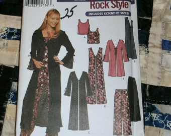 2002 Simplicity Pattern 7184 for Junior Coat or Vest, Top and Pants Size BB, 17-18 to 23-24 Uncut