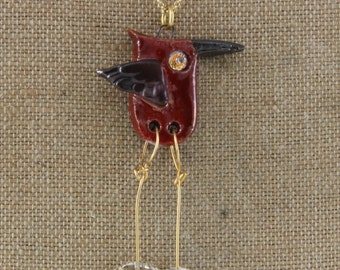 Original Walking Bird Raku and Crystal Necklace