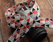 dSLR Camera Strap - Geometric Triangles in Red and Grey - Modern Camera Strap - Camera S-trap dSLR - Red Camera Strap - Photographer Gift