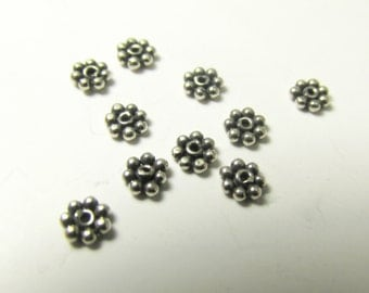 6 Bali 925 Sterling Silver 3mm Granular Daisy Spacers  - Jewelry Findings