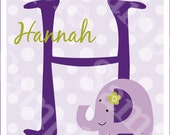 """Personalized with any Name and Letter! """"Hopscotch Elephant w Polka Dots"""" Initial/Name 8x10 inch Nursery Art Print"""