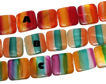 Strand Striped Shell Beads 20mm Square 3 Color Options- 20 Beads- BD815