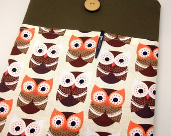 KI iPad Air case 2, iPad cover, iPad sleeve/ Samsung Galaxy Tab 3 10.1with 2 pockets, PADDED - Brown owls