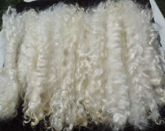 """Long Long White Mohair Superior Quality Separated  9 To 10 Inches Some 11"""" Very Rare 1/2 Ounce Santas/Doll Hair/Blythe/Wig Hair Felt/Spin"""