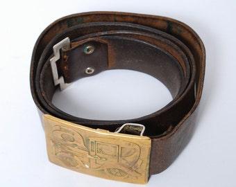 Vintage natural leather belt with brass buckle, CAR.