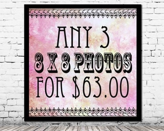 Any 3 8 x 8 PHOTOS for 63.00 - you pick personalized home decor affordable art set housewarming gift