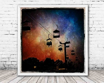 carnival print - magical night sky photography - carnival decor - stars - silhouette