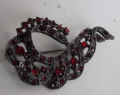 Vintage brooch, ruby red crystal and japanned metal ornate ribbon brooch, retro 1940s jewelry