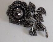 """Vintage brooch, """"Black beauty"""" crystal rose flower brooch, vintage jewelry"""
