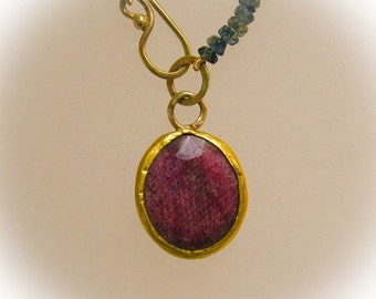Ruby gold pendant ,Sapphire and ruby necklace ,Solid gold necklace