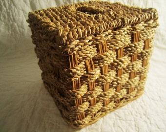 Vintage woven natural jute wicker earthy organic tissue holder