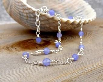 Lavender Jade Anklet, Sterling Silver Gemstone Ankle Bracelet, Feminine Jewelry