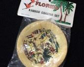 FLORIDA Souvenir Bamboo Coasters,  NOS Set of 4