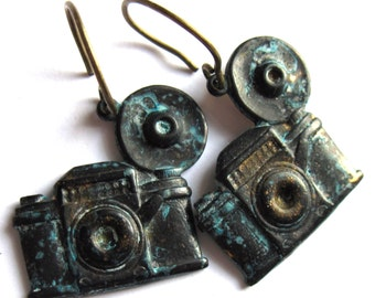 Camera Earrings Vintage Verdigris Patina Retro Fashion Jewelry