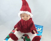 Christmas Doll, Winter doll, doll with bed box, vintage doll with new clothes