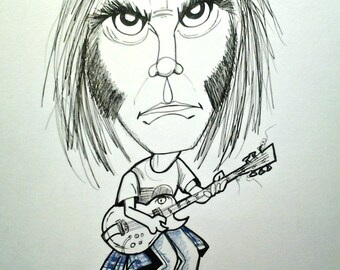 Neil Young Rock Portrait Rock and Roll Caricature Music Art by Leslie Mehl