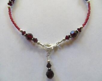 Garnet Swarovski Crystal Ankle Bracelet